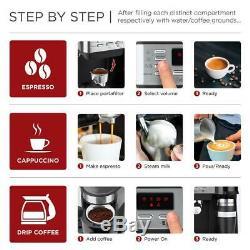 3 in 1 Espresso Coffee Machine Cappuccino Maker Programmable 115-Bar Accessories