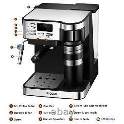Aicook 6827 Semi-Automatic Espresso and Coffee Machine Silver/Black