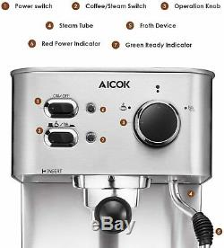 Best Espresso Machine Cappuccino Coffee Maker with Milk Steamer Frother 15 Bar