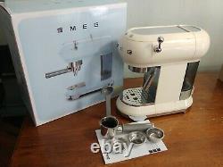 Cream SMEG 50's Retro Style Aesthetic Espresso Coffee Machine- Slightly Used