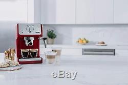 DeLonghi Espresso Coffee Machine Cappuccino Latte15 Bar Brew Automatic Drip- RED