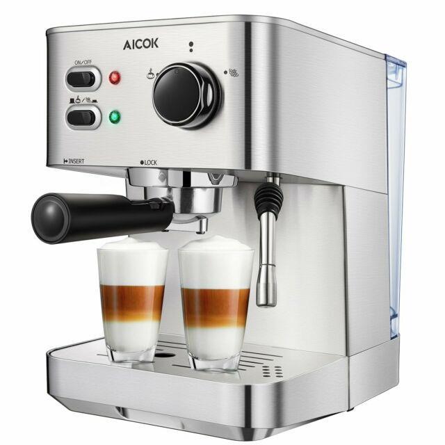 Espresso Machine Aicok Cappuccino Latte Coffee Maker 15 Bar With Milk Frother