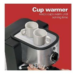 Espresso Machine Cappuccino Coffee Maker With Steam Frother Cup Warmer Electric