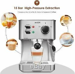 Espresso Machine Cappuccino Coffee Maker with Milk Steamer Frother 15 Bar and