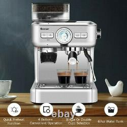 Espresso Machines 20 Bar Coffee Machine With Milk Frother Wand Sliver 2 Cups New