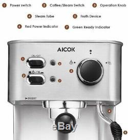 Home Espresso Machine Cappuccino Expresso Latte Coffee Maker with Milk Frother
