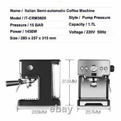 Italian Coffee Machine 2 Cups Semi Automatic Cappuccino Espresso Coffee Maker
