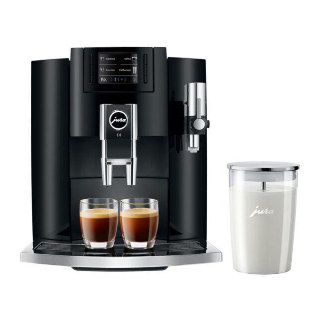 Jura E8 Automatic Coffee Machine (piano Black) With Glass Milk Container Bundle