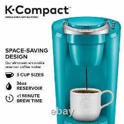 Keurig Coffee Maker, K-Compact Single-Serve K-Cup Pod Brewing Machine, Turquoise