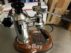 La Pavoni Professional Espresso Machine withVintage Brown Base Italian Coffee