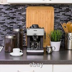 NEW Mr. Coffee ECM160 4-Cup Steam Espresso Machine Black Silver Cappuccino Maker
