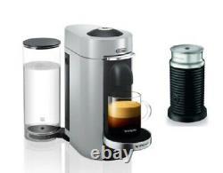 Nespresso by De'Longhi ENV155SAE Silver VertuoPlus & Aeroccino Milk Frother New