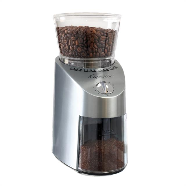 New Capresso Infinity Conical Burr Stainless Finish Coffee Grinder 560.04