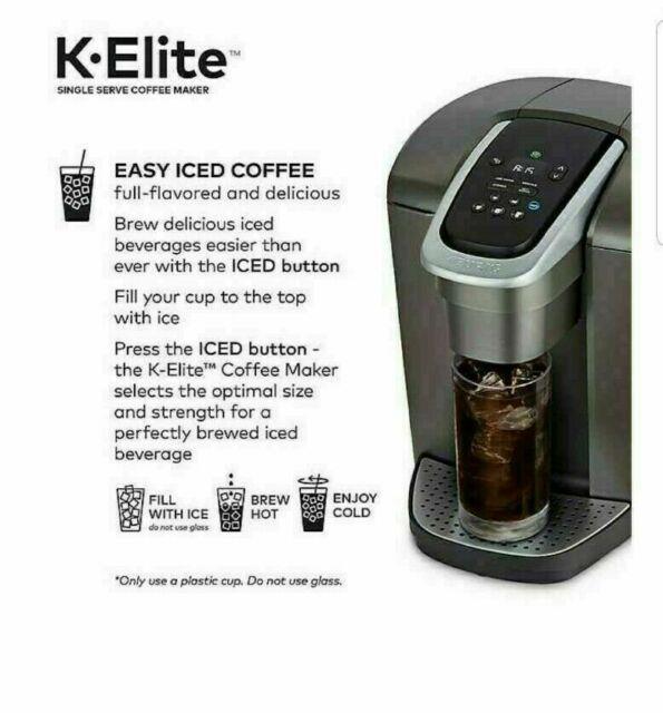 New Keurig K-elite Single Serve K-cup Pod Coffee Maker Brushed Slate / Silver