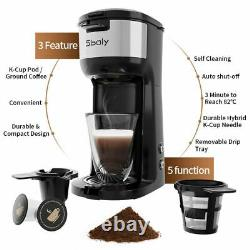 Sboly Single Serve Coffee Maker with Thermal Mug 3 Mins Fast Brew Self Cleaning