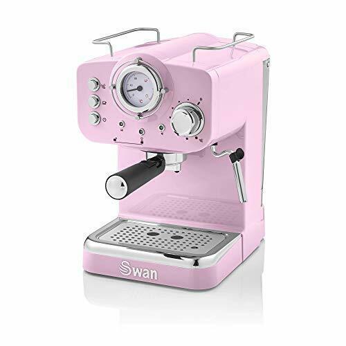 Swan Retro Pump Espresso Coffee Machine, Pink, 15 Bars Of Pressure, Milk