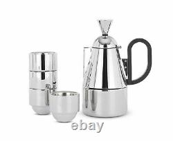 Tom Dixon Stainless Steel Brew Espresso Coffee Stovetop Giftset withGlasses