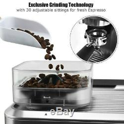 Two Cup Espresso Coffee Maker With Built In Steamer Frother And Bean Grinder