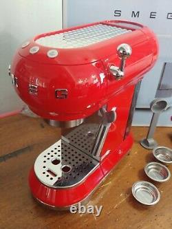Used red SMEG 50's Retro Style Aesthetic Espresso Coffee Machine
