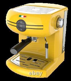 Vintage Traditional Pump Espresso Coffee Machine Manual Cappuccino Latte Yellow